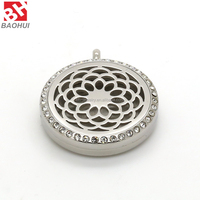 30MM Stainless Steel Essential Oil Diffusing Flower Face Floating Perfume Locket Women Jewelry