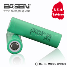 Authentic 25r 3.7v blue/green samsung inr18650-25r battery 18650 35 amp battery samsung 25r 18650 akku imr 18650 2500mah battery