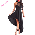Sexy Black Sheer Mesh Decolletage Halterneck Sleeveless Women Party Dress