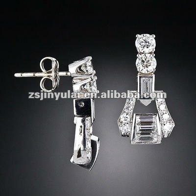 New Design Jewelry of Art Deco Style Baguette & Round Cut White CZ Diamond Stud Earrings