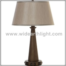 UL CUL Listed Hardback Shade Hotel Bedside Table Lamp With USB Port And Outlets T50084