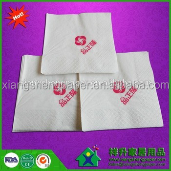 Virgin pulp brown print one color logo 1/4 fold manufacture factory wholesale custom printed paper napkin