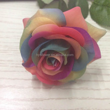 real touch small rainbow rose artificial flower, china fabric flowers for wedding decoration