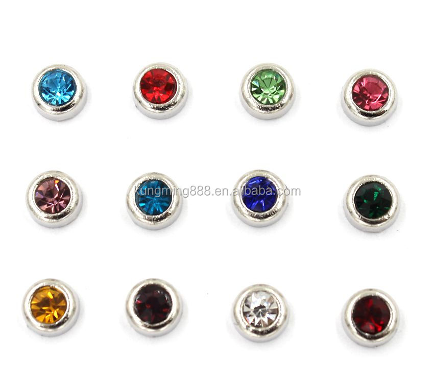 3MM-7MM Silver Round Birthstone Memory Charms With Rhinestone Wholesale