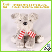 Factory direct sale stuffed animal Plush Christmas dog stuffed Schnauzer dog with a scarf