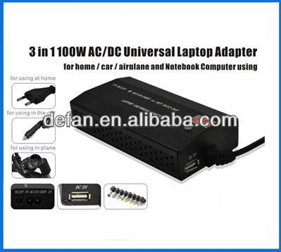 universal 100W laptop adapter with usb port for Home/Car/airplane type