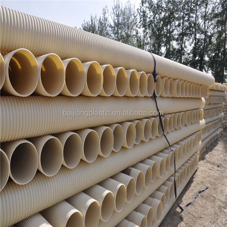 "White 4"" Double Wall Corrugated PVC PVC U Pipe and Fittings"