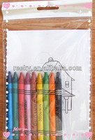6 crayons with 20pages book in plastic bag
