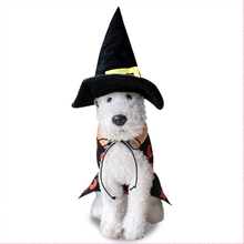 Dog Cat Halloween Coat Pet Magician Cosplay Clothing with a Hat for Party