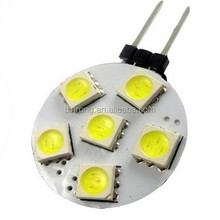 G4 W5W 5050 LED 6SMD Bulb 12V RV Camper Marine Bright Light
