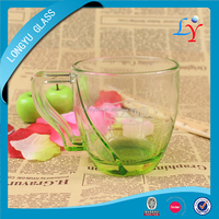 glass mug handles cheap glass cup glass tea cup colored lipton cup for promotion