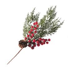 Green Flower Plastic Branch with Berry&Acone for Christmas Decoration and Wreath component