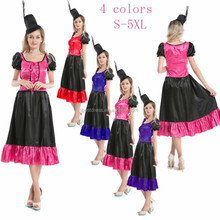 Spanish Mexican Flamenco Senorita Dancer Can Can Saloon Fancy Dress Costume