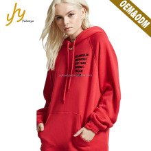 Fashion Cotton And Polyester Red Printing Logo Loose Women Hoodie Custom