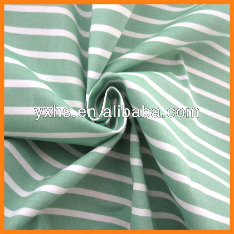 Hot sale 100% cotton yarn dyed green and white stripe fabric
