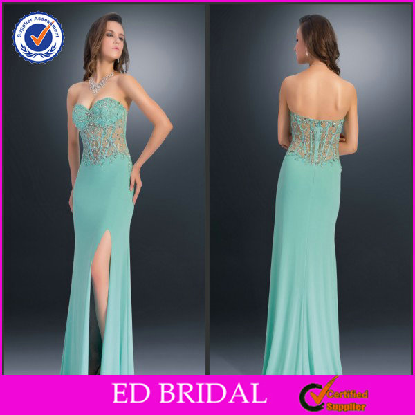 2014 Sell Well Exotic Sweethart Beaded Illusion Satin Side Slit Sleeveless Prom Dresses