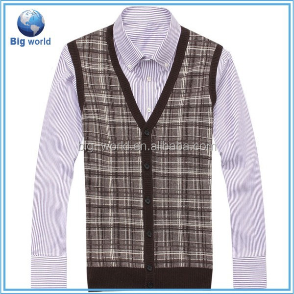 New Fashion V-neck Mens Knitted Cardigan Fitted Wool Top Sleeveless Vest Sweater