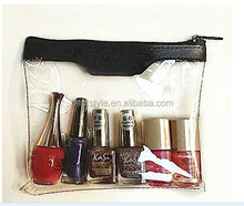 Cosmetics clear vinyl pvc zipper pouch with embossing pu leather