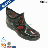 SEAVO SS17 wholesale fancy fashion flower printing ladies ankle high pvc transparent rain boots