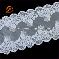 white color beautiful scalloped chantilly beaded lace