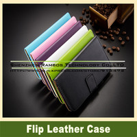 Pure Color Wallet Stand Flip Leather Cover Case Capas Para for Moto G2 for Samsung Galaxy S5 Mini for Alcatel One Touch Pop C5