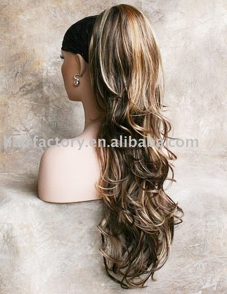 Brown Mix Ponytail Hair Piece wig Hairpiece,Long Ponytail