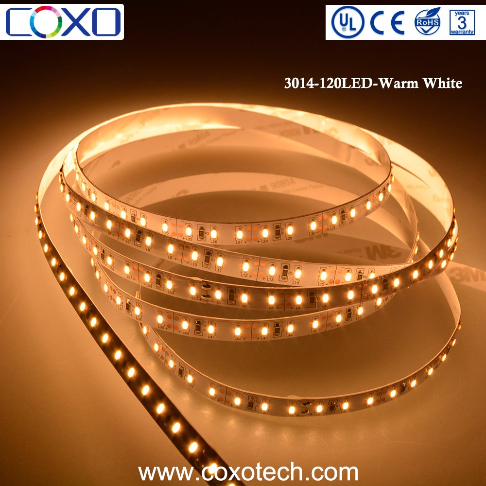 DC 12V CRI 80 High Lumen Epistar SMD 3014 Warm White Led Light Strip