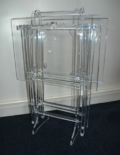 wholesale clear acrylic furniture lucite folding TV stand snack table