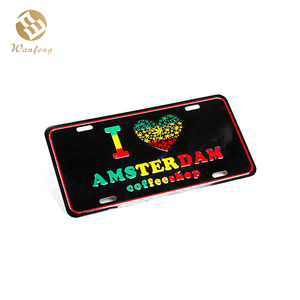 Custom Embossed Printed Logo Metal Tin Sign Decorative Aluminum License Plate