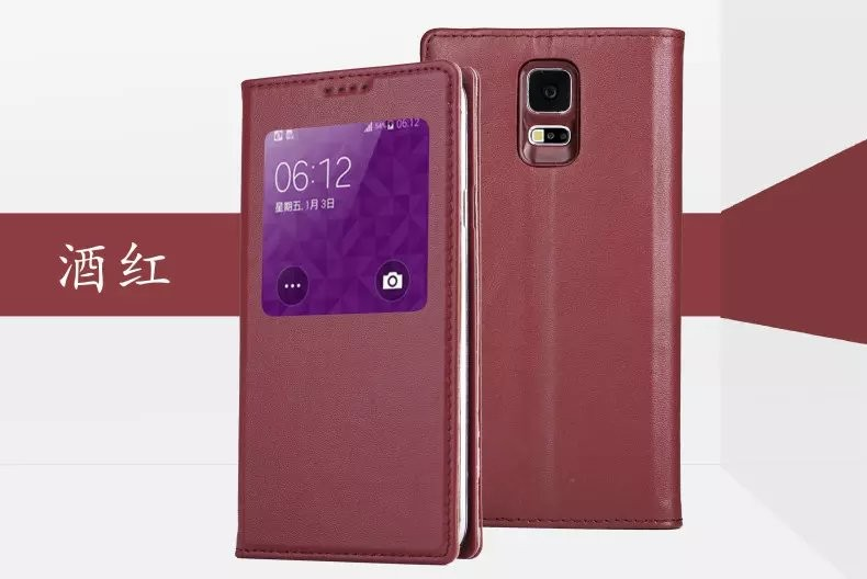 For Samsung Galaxy S5 Gliiter Genuine Real Leather Case Cover Window Mobile Cell Phone Case Wallet Stand Accessory