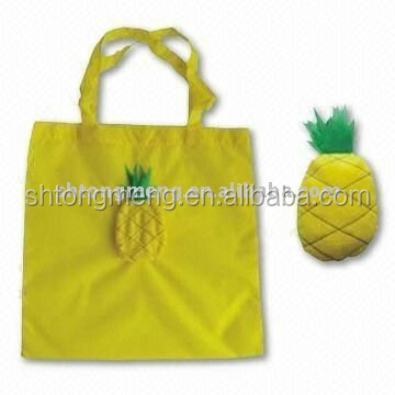 New style pineapple shaped 190T foldable shopping tote bag with logo