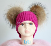Trendy Sweet Knitted Warm In Winter Baby Beanie Hat And Cap With Two Plush Pompoms For Kids