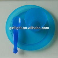 Recycle blue plastic plate and cup
