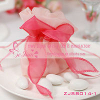 Mixed Colors beautiful Organza wedding Candies bags with bouquet flower