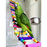 Newest Colorful Climbing ladder Pet Bird Ladder Macaw Cockatiel Parrot Hamster Wood Ladder Climb Bell Swing Bite Toy