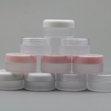 empty matte finish 10G plastic cosmetic jar with pink cap