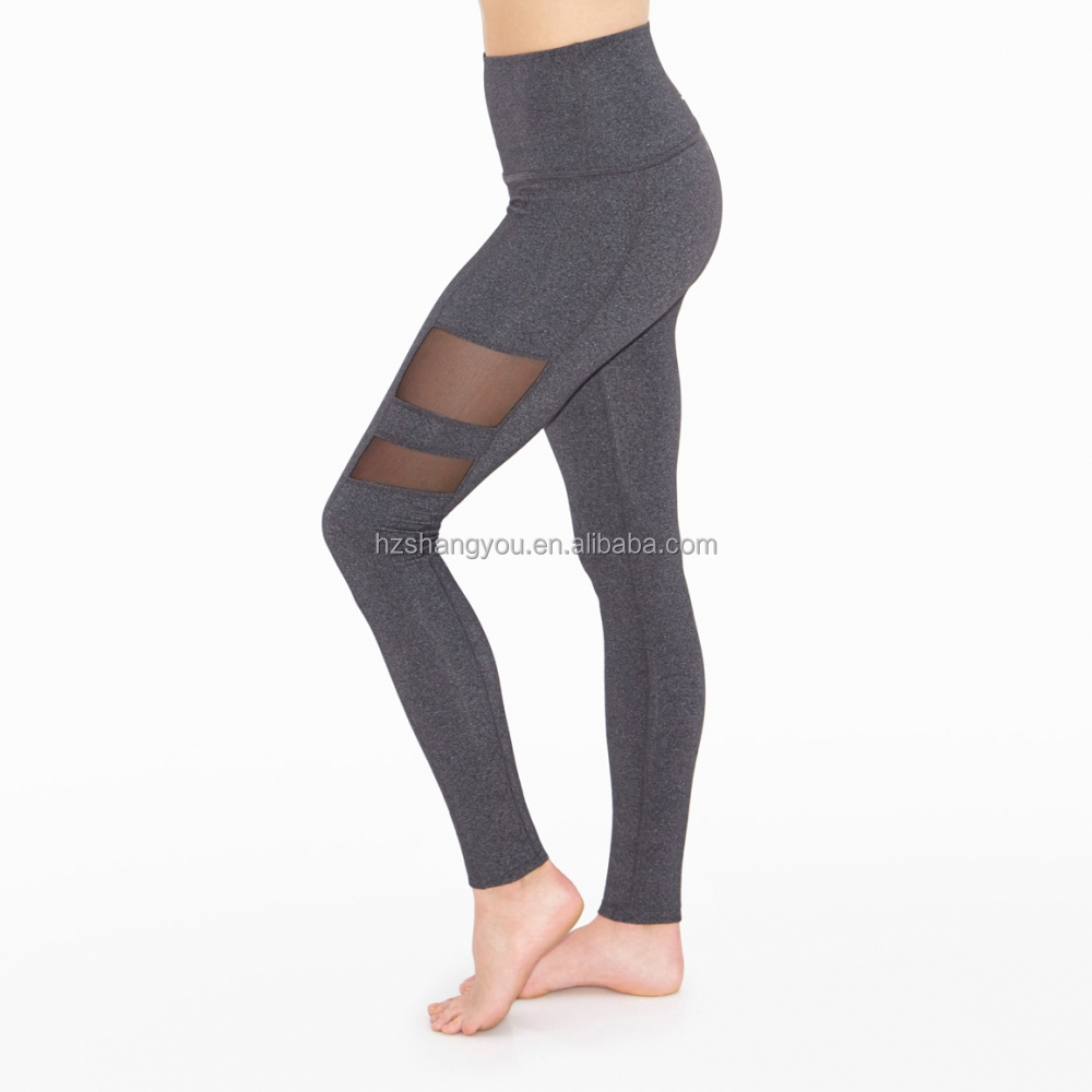 OEM Rise Above Striped Mesh Long Legging women's soft yoga fitness running pant
