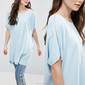 Scoop neck relaxed fit plain long tee with zipper on sleeve