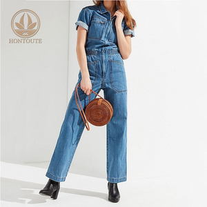 Women Siamese Trousers Wide Leg Jumpsuit Pants Leggings Blue Denim Jeans