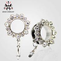hot selling crystal dangle ear gauges stainless steel ear plug tunnel body jewelry wholesale