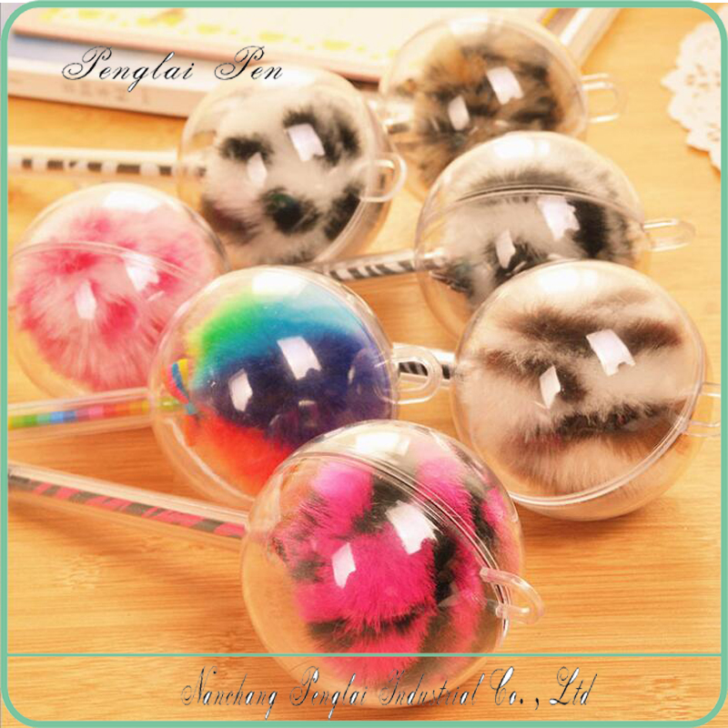 hot selling plush hand made ballpoint pen factory with round design