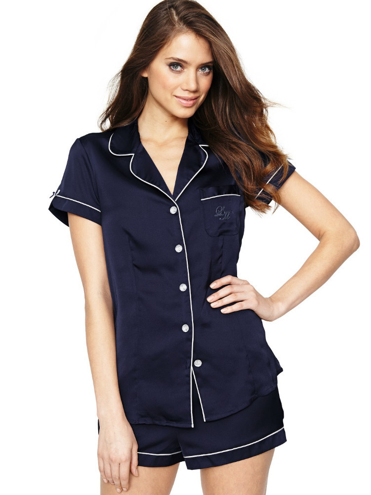 On sale cheap women dark blue notched collar short sleeve open front shorts couple pajamas sets leisure wear