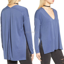 European Fashion Women Modal Polyester Long Sleeve Blouses Tops Wholesale Cheap Plain Dyed Sexy Deep V Neck Tops High Quality
