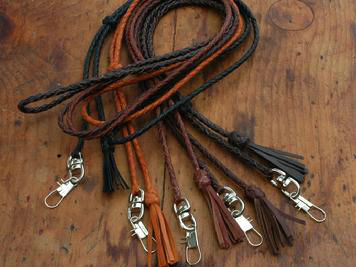 Grain leather/PU leather braied short lanyard