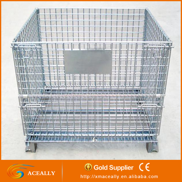 folding storage crate with wheels hot sale folding stacked wire mesh pallet cage steel mesh crates