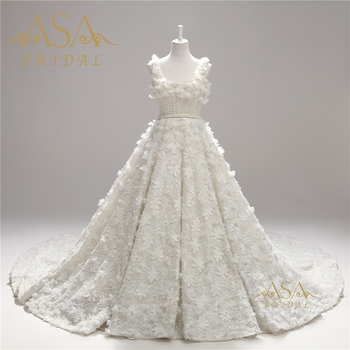 ASWY13 Real Sample Square Neckline Hand made 3D Flowers Pearls Ball Gown Crystal Beads luxury wedding Dress 2017