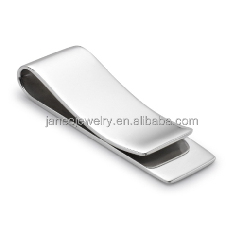 Fashion Mens Accessories Hardware Metal Gift High Quality Polished Stainless Steel Money Clip Laser Engraving Blanks