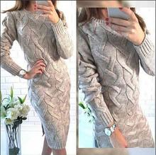B31357A 2016 Women winter fashion cashmere wool knitted sweater dress