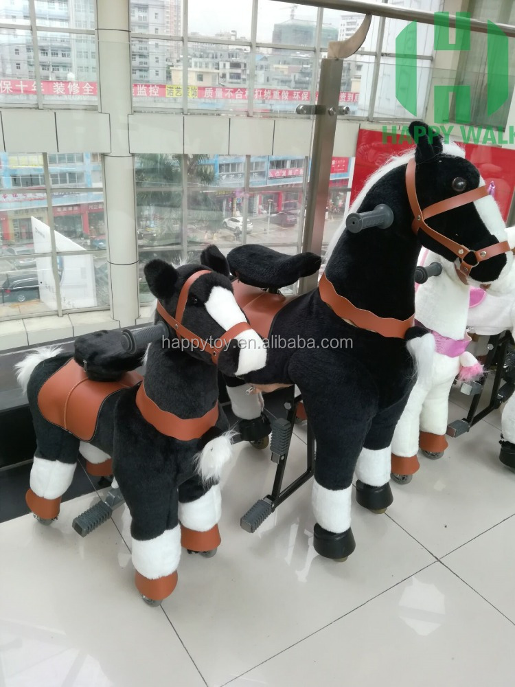 Plush black horse ride mechanical walking ride on furry animal for mall