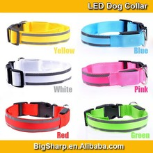 New illumination Colour Sharp nylon LED dog collar with reflective strip glow flashing safety protect your dog at night DC-2517